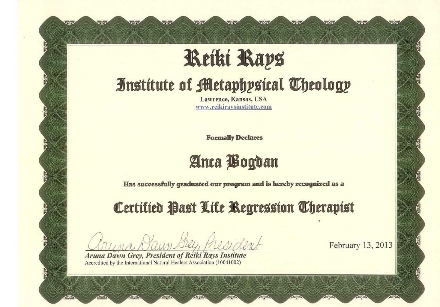 Past Life Regresion Therapist Diploma Anca Bogdan Karanna