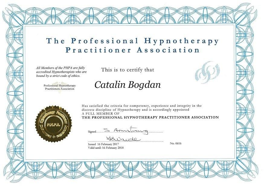 certificat hipnoterapeut regresie vieti anterioare Karanna Catalin Bogdan