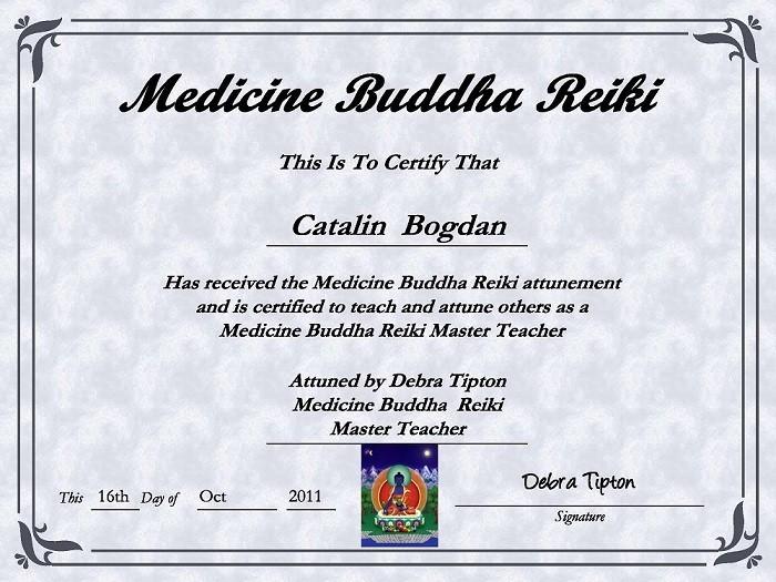 certificat medicine buddha reiki