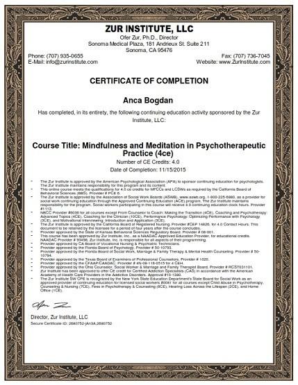 diploma mindfulness si meditatie Karanna
