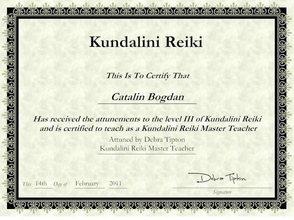 Kundalini Reiki Certificate