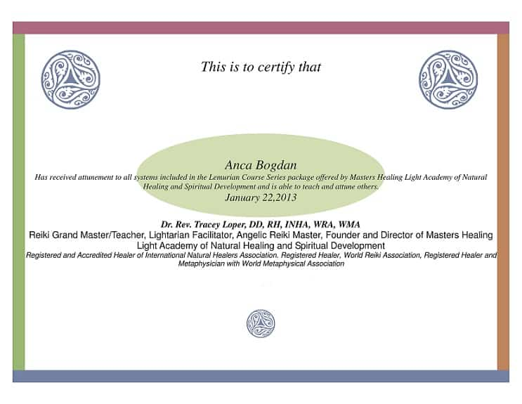 Certificat Lemurian Facilitator, Lemurian Crystals &Amp; L. Energy