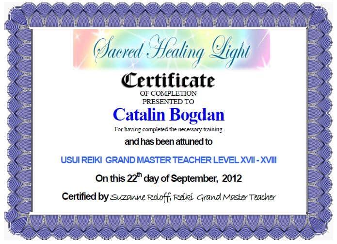 Usui Reiki Certificat
